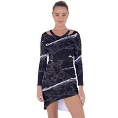 Marble Tiles Rock Stone Statues Asymmetric Cut Out Shift Dress