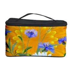 Flowers Daisy Floral Yellow Blue Cosmetic Storage Case by Simbadda