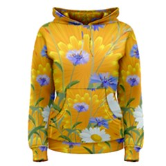 Flowers Daisy Floral Yellow Blue Women s Pullover Hoodie