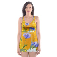 Flowers Daisy Floral Yellow Blue Skater Dress Swimsuit by Simbadda
