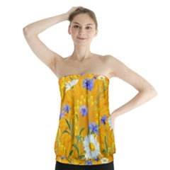 Flowers Daisy Floral Yellow Blue Strapless Top