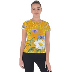 Flowers Daisy Floral Yellow Blue Short Sleeve Sports Top