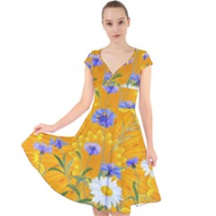 Flowers Daisy Floral Yellow Blue Cap Sleeve Front Wrap Midi Dress
