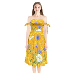Flowers Daisy Floral Yellow Blue Shoulder Tie Bardot Midi Dress