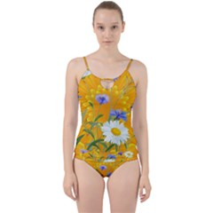 Flowers Daisy Floral Yellow Blue Cut Out Top Tankini Set by Simbadda