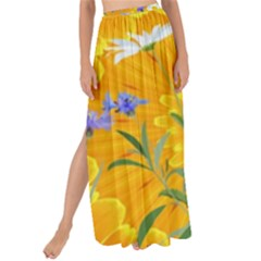 Flowers Daisy Floral Yellow Blue Maxi Chiffon Tie Up Sarong