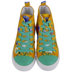 Flowers Daisy Floral Yellow Blue Women s Mid Top Canvas Sneakers