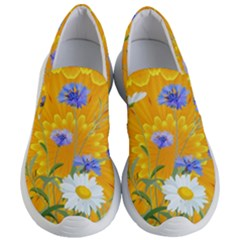 Flowers Daisy Floral Yellow Blue Women s Lightweight Slip Ons