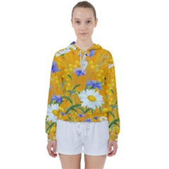 Flowers Daisy Floral Yellow Blue Women s Tie Up Sweat
