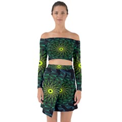 Abstract Ribbon Green Blue Hues Off Shoulder Top With Skirt Set