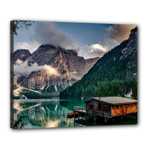 Italy Mountains Pragser Wildsee Canvas 20  X 16  by Simbadda