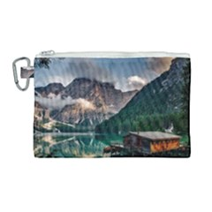 Italy Mountains Pragser Wildsee Canvas Cosmetic Bag (large) by Simbadda