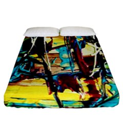Dance Of Oil Towers 4 Fitted Sheet (california King Size) by bestdesignintheworld