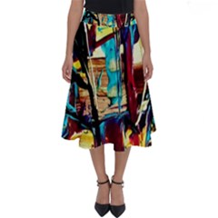 Dance Of Oil Towers 4 Perfect Length Midi Skirt by bestdesignintheworld