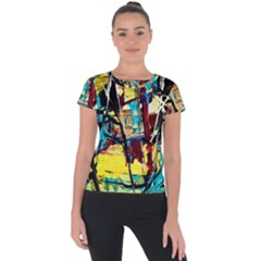 Dance Of Oil Towers 4 Short Sleeve Sports Top  by bestdesignintheworld