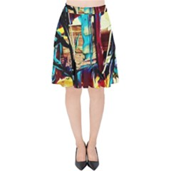 Dance Of Oil Towers 4 Velvet High Waist Skirt by bestdesignintheworld