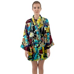 Dance Of Oil Towers 4 Long Sleeve Kimono Robe by bestdesignintheworld