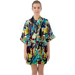 Dance Of Oil Towers 4 Quarter Sleeve Kimono Robe by bestdesignintheworld