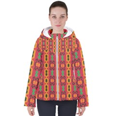 Tribal Shapes In Retro Colors                                Women s Hooded Puffer Jacket by LalyLauraFLM
