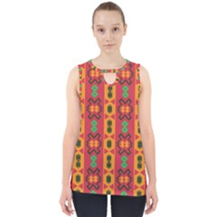 Tribal Shapes In Retro Colors                                 Cut Out Tank Top