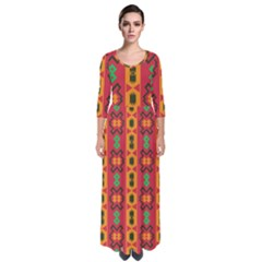 Tribal Shapes In Retro Colors                                   Quarter Sleeve Maxi Dress