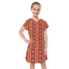 Tribal Shapes In Retro Colors                                  Kids  Drop Waist Dress by LalyLauraFLM
