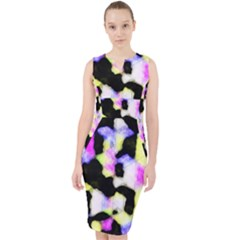 Watercolors Shapes On A Black Background                                    Midi Bodycon Dress