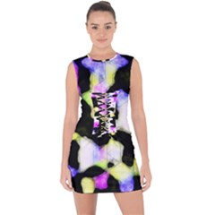 Watercolors Shapes On A Black Background                                      Lace Up Front Bodycon Dress