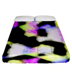 Watercolors Shapes On A Black Background                                 Fitted Sheet (king Size) by LalyLauraFLM