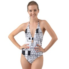 Drawing  Halter Cut Out One Piece Swimsuit