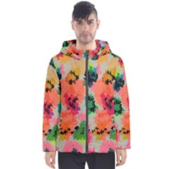 Colorful Spots                                   Men s Hooded Puffer Jacket