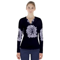 Drawing  V Neck Long Sleeve Top