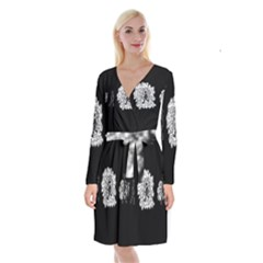 Drawing  Long Sleeve Velvet Front Wrap Dress