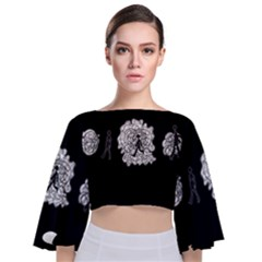 Drawing  Tie Back Butterfly Sleeve Chiffon Top