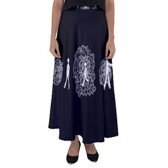 Drawing  Flared Maxi Skirt