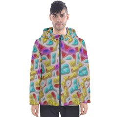 3d Shapes On A Grey Background                                   Men s Hooded Puffer Jacket by LalyLauraFLM