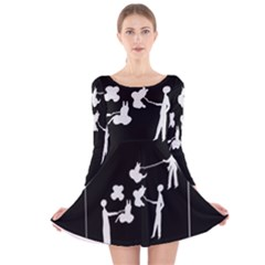 Drawing  Long Sleeve Velvet Skater Dress