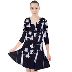 Drawing  Quarter Sleeve Front Wrap Dress