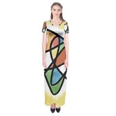 Abstract Art Colorful Short Sleeve Maxi Dress