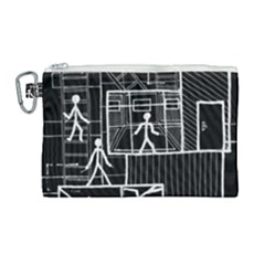 Drawing Canvas Cosmetic Bag (large) by ValentinaDesign