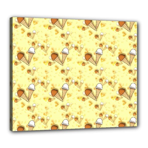 Funny Sunny Ice Cream Cone Cornet Yellow Pattern  Canvas 24  X 20  by yoursparklingshop