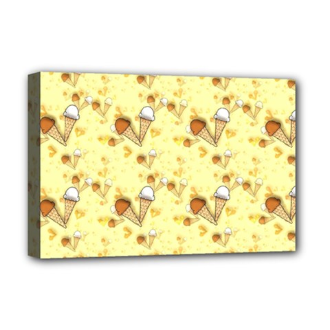 Funny Sunny Ice Cream Cone Cornet Yellow Pattern  Deluxe Canvas 18  X 12   by yoursparklingshop