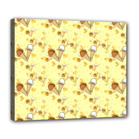 Funny Sunny Ice Cream Cone Cornet Yellow Pattern  Deluxe Canvas 24  X 20   by yoursparklingshop