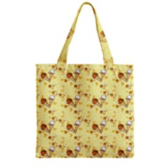 Funny Sunny Ice Cream Cone Cornet Yellow Pattern  Grocery Tote Bag by yoursparklingshop