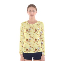 Funny Sunny Ice Cream Cone Cornet Yellow Pattern  Women s Long Sleeve Tee by yoursparklingshop