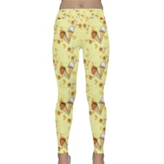 Funny Sunny Ice Cream Cone Cornet Yellow Pattern  Classic Yoga Leggings by yoursparklingshop