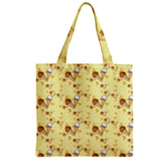 Funny Sunny Ice Cream Cone Cornet Yellow Pattern  Zipper Grocery Tote Bag by yoursparklingshop