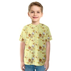 Funny Sunny Ice Cream Cone Cornet Yellow Pattern  Kids  Sport Mesh Tee by yoursparklingshop
