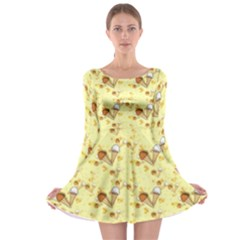 Funny Sunny Ice Cream Cone Cornet Yellow Pattern  Long Sleeve Skater Dress by yoursparklingshop