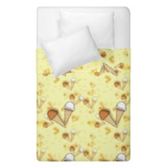Funny Sunny Ice Cream Cone Cornet Yellow Pattern  Duvet Cover Double Side (single Size) by yoursparklingshop